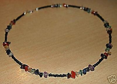 Chakra Necklace / Choker  Genuine Gemstones Black Beads Sterling Silver Clasps