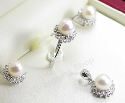 Diamonds Pearls Set Pendant Ring Earrings White Gold Jewellery Pearl necklace