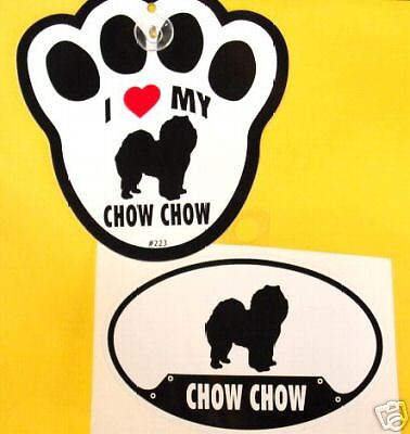 Chow Chow - Decal& Window Pawprint W Suction Cup Set