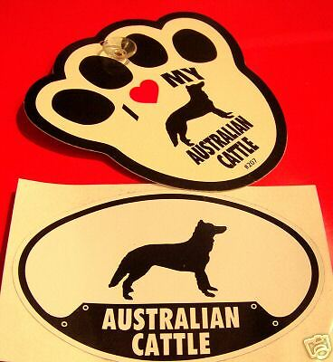 Australian Cattle - Decal & Window Pawprint W Cup Set
