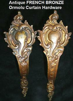 FRENCH Antique BRONZE Ormolu Curtain CARTOUCHE/Scroll