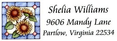 Sunflowers stained glass looking Address Labels