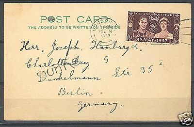 U.k 1937 Postal Card Mailed With Royal Couple Stamp
