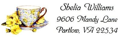 Teacup, Saucer and Yellow Flowers Address Labels