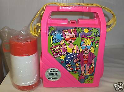 Beach Party`1988 Plastic Lunch Tote & Thermos`Large Box-:>No Cracks-:>Free To US