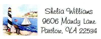 Lighthouse and sailboat Nautical theme Address Labels