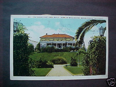 BEVERLY HILLS, CA. - Will Rogers Home - Postcard - 1930