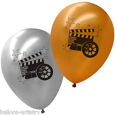 20 Hollywood Printed Gold Silver Balloons CLAPPER BOARD