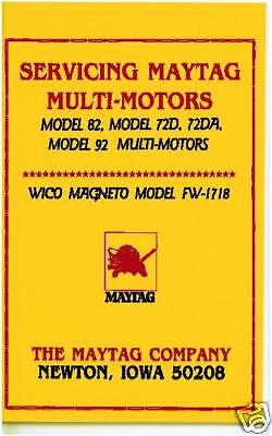 Service Manual For Maytag Model 82, 72D, 72Da & 92