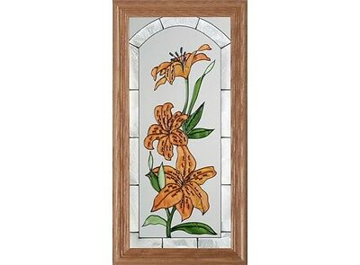 22x11 TIGER LILY Flowers Floral Stained Art Glass Framed Suncatcher
