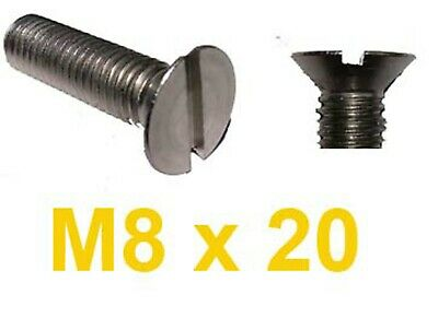 M8 x 20 Stainless Countersunk Slotted Machine Screw x10