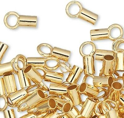 100 Gold Plated Brass Crimp Tubes / 3.5x2mm with Loop