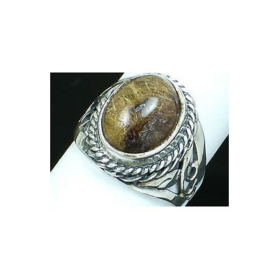 Natural Rutilated Quartz & 925 Sterling Silver Ring Size 6.75