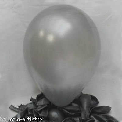 "100 x Silver 12"" Latex Pearl Pearlised Party Balloons"