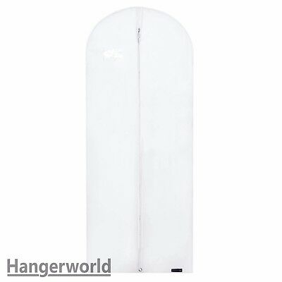 "3 White Breathable Dress Covers Garment Clothes Protector Bags 60"" Hangerworld"