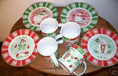 AVON Snowfamily Collection - 4 Mugs + 4 Dessert Plates
