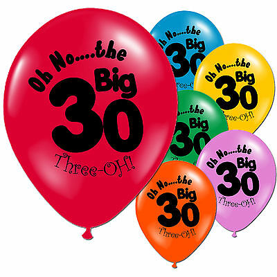 10 Multi Coloured 30th Birthday Party Printed Latex Balloons