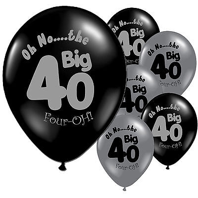 "10 Black Silver 40th Birthday 11"" Pearlised Latex Balloons"