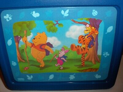 Pooh-Tigger & Friend`Plastic Lunchbox & Thermos`New With Paper-:>Free To US
