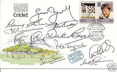 CRICKET LEGENDS MULTI x 10 IN PERSON signed FDC  RARE