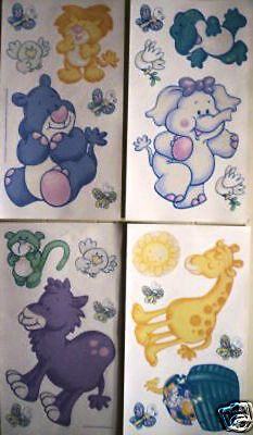 Stickers Muraux Deco * Bebes Animaux * 4 Planches