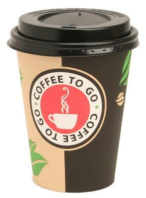 100 Hartpapierbecher Coffeetime mit Deckel 0,3l Pappbecher Coffee to go Becher