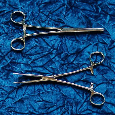 "HEMOSTATS / LOCKING FORCEPS 8"" NEW 1 curved 1 straight"