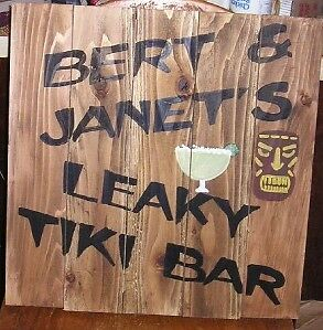 PERSONALIZED LEAKY TIKI BAR WOOD SIGN SURF BEACH, Fun Tropical sign, Custom Made