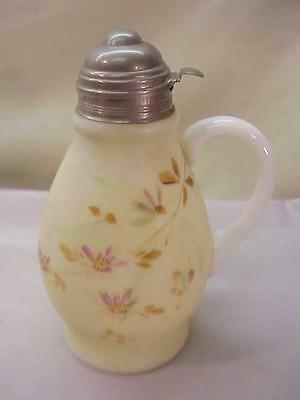 ANTIQUE SYRUP PITCHER JUG~VICTORIAN GLASS~HAND PAINTED