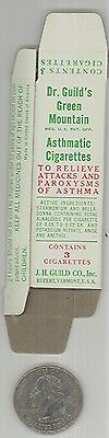 Lot of 4 - 1940s Dr Guild's Green Mountain Asthmatic Cigarette boxes - NOS