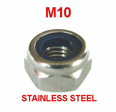 M10 Stainless Steel Nyloc Nuts - 10mm Stainless Nylon Insert Nylock Nuts x10