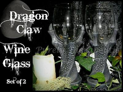 ~SET OF 2 DRAGON CLAW WINE GLASS GOBLETS~Gothic Wicca Bar Pagan Ritual Alcohol