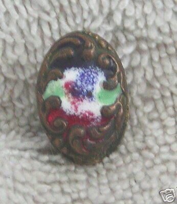 Gorgeous Antique Gold Small Enameled Fur Clip