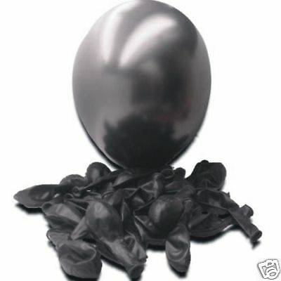 "50 x Black 12"" Pearlised Balloons"