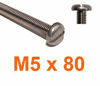 M5 x 80 Stainless Slotted Pan Head Machine Screws - 5mm x 80mm Slot Pan x10