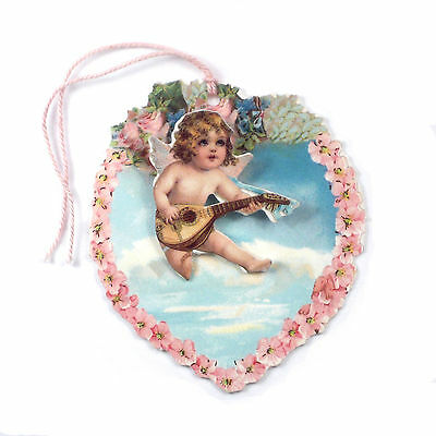 25 3D Cupid playing Mandolin on a Floral Heart Shaped Gift Tag ET0023