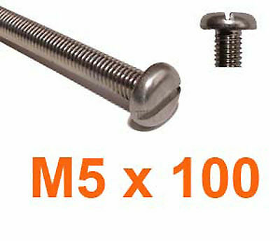 M5 x 100 Stainless Slotted Pan Head Machine Screws  - 5mm x 100 Slot Pan x10
