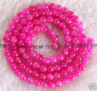 4mm Beautiful Pink Jade Round Beads 15''