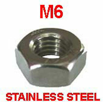 M6 Stainless Steel Full Nuts - 6mm Stainless Steel Hex Full Nuts x50