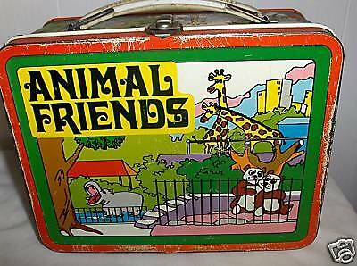 Animal Friends`( Yellow )`1978`By The Famous Ohio Art-Metal Lunchbox`Free To US