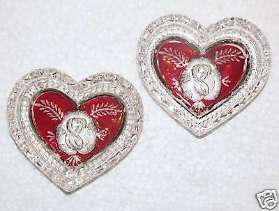 PreO Red Rose Bud Design Crystal Heart Dishes 2 Set