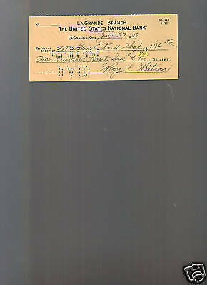 Roy Hutson 1925 Dodgers signed autographed check