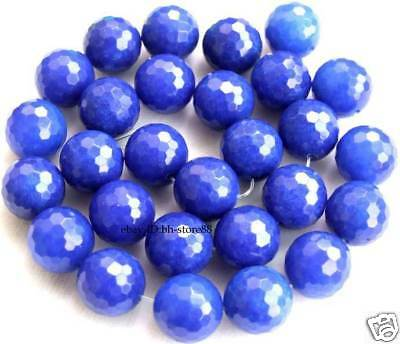 New! 14mm Beautiful Blue Jade Round Faceted Beads 15.5'
