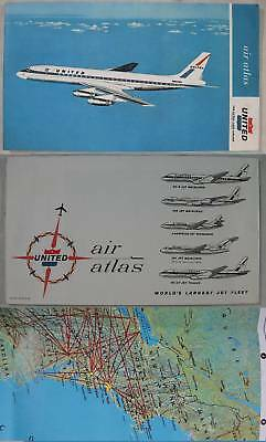 1963~United Airlines~Airline Atlas Map of The U S