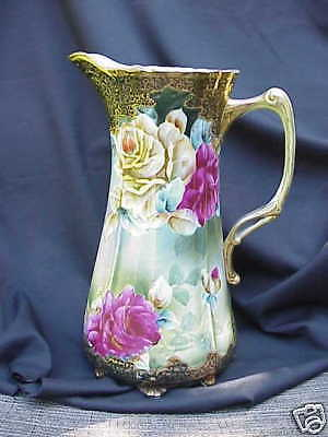 Antique Nippon Tankard Floral and Gold Overlay