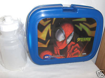 Spider-Man..Blue Plastic Lunchbox & Juice Bottle`New`W/Bubbles In Decal`Free  US