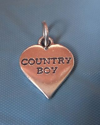 Sterling Silver says Country Boy on a Heart Charm