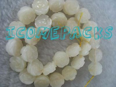 "wholesale 15.5"" 14*7mm white jade carved flower beads"