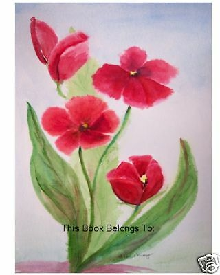 Bookplates, Red Poppies,Watercolor,This Book Belongs To