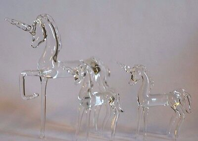 Unicorn Figurine Family set of 3 Hand Blown Glass
